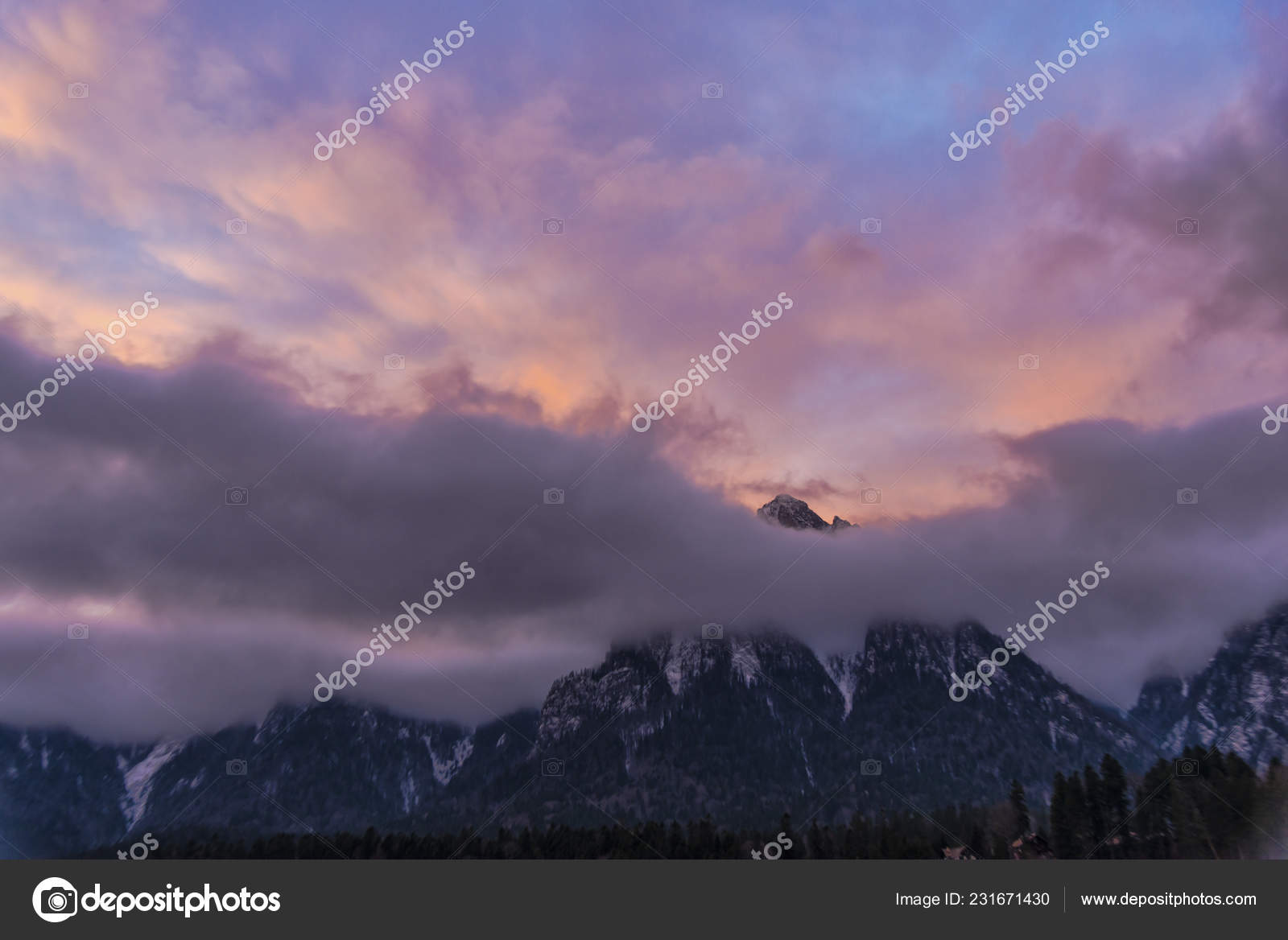 Majestic Purple Sunset Sunrise Sky Mountains Clouds Stock Photo C Somra Stefan Gmail Com 231671430