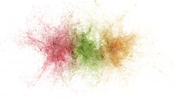 Explosionen von Flüssigsaft. auf weiß. alpha matt