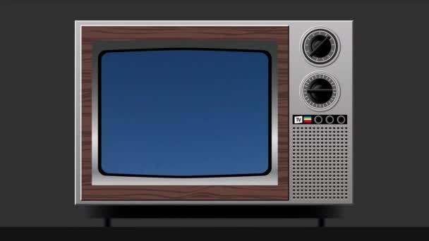 Rychlé spuštění mraků na staré televizní obrazovce