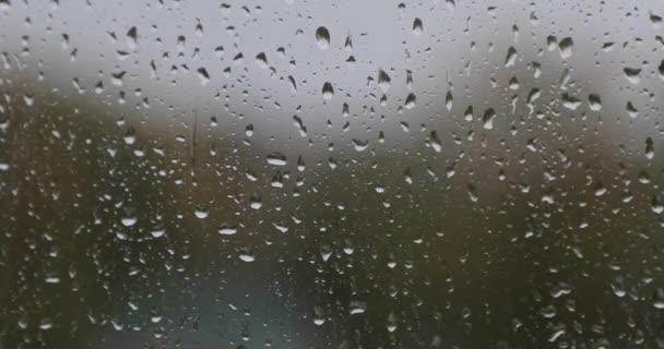 dešťové kapky na sklářských výpustkách během dne