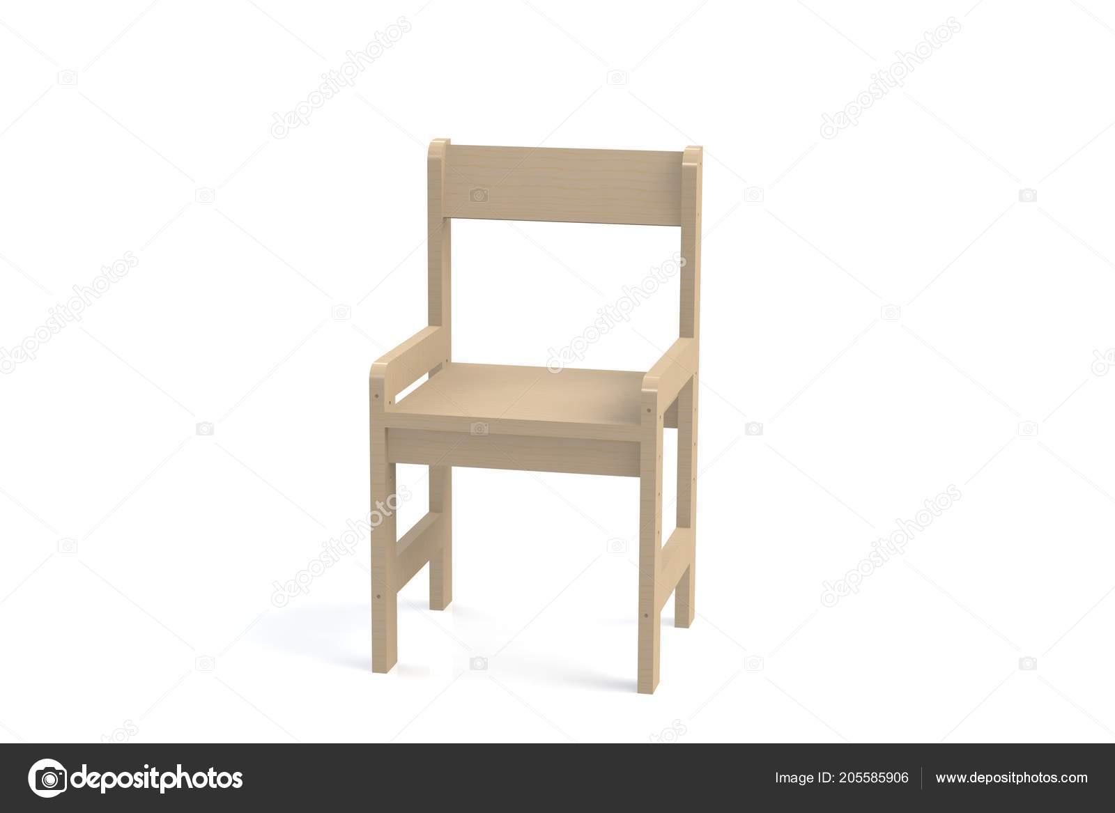 Houten Kinderstoel Wit.Kleine Houten Kinderstoel Een Witte Achtergrond Weergave Van Het