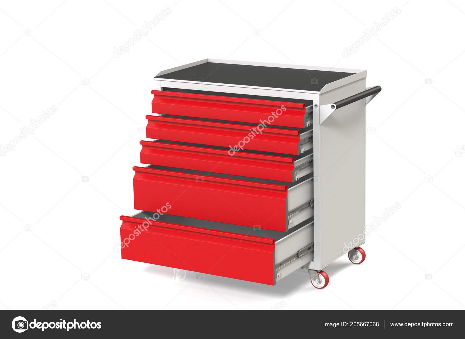 Metalen gereedschap kast tafel wielen met lade een geschikte plaats