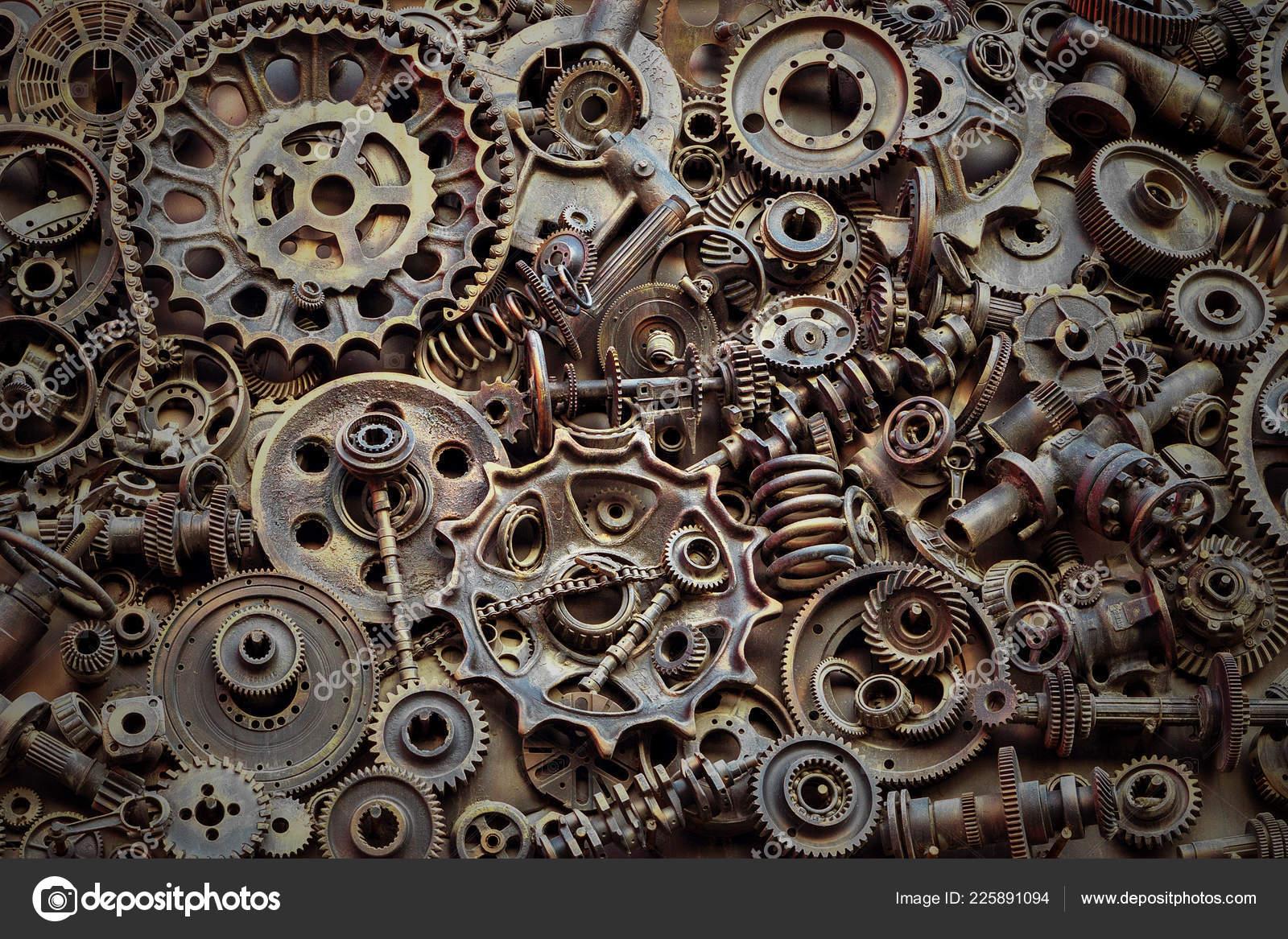 steampunk background machine parts large gears chains machines