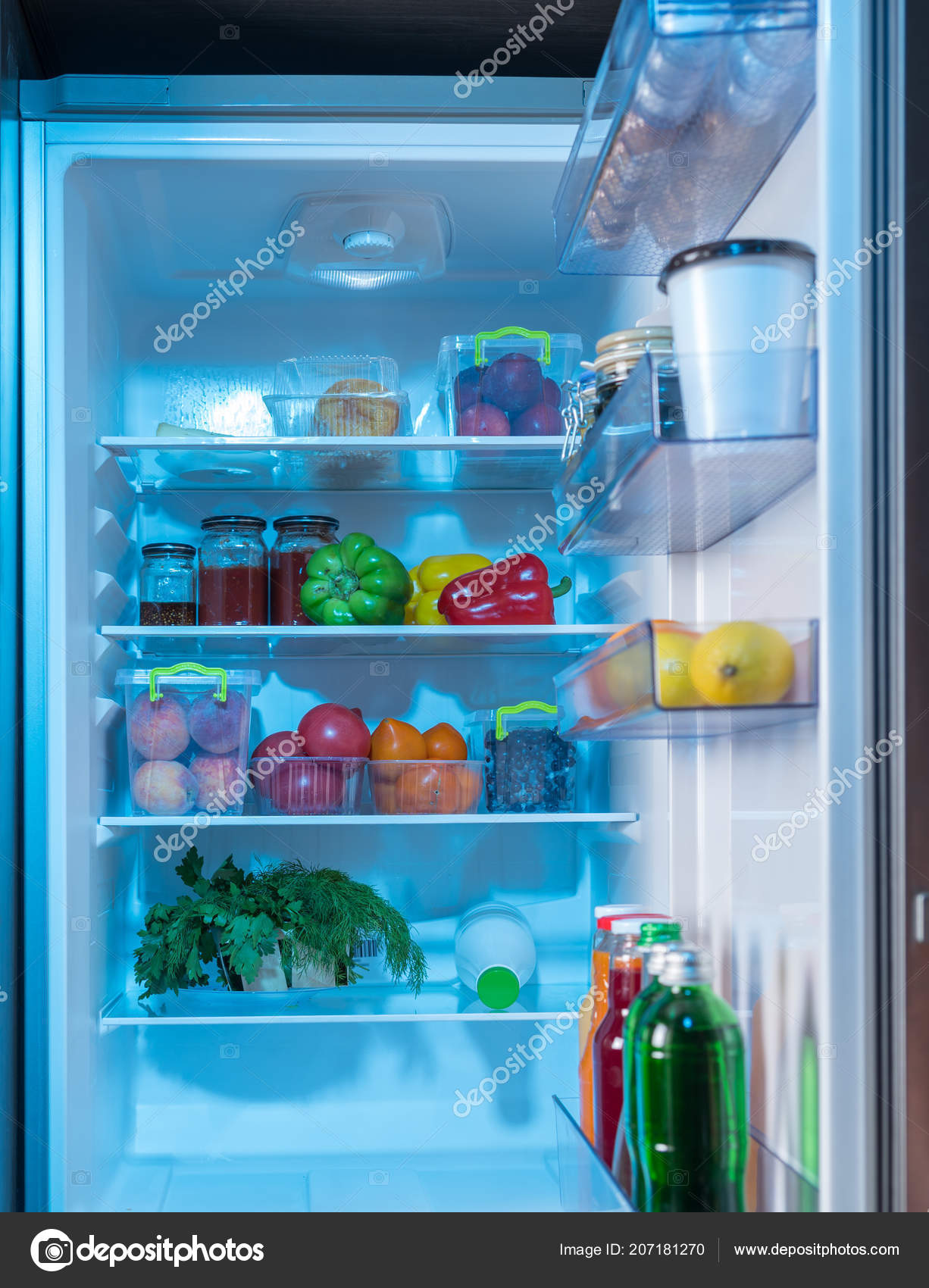 Open Fridge Healthy Fresh Food Including Assorted Fruit Vegetables