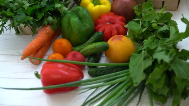 Assortment of healthy fresh vegetables and herbs