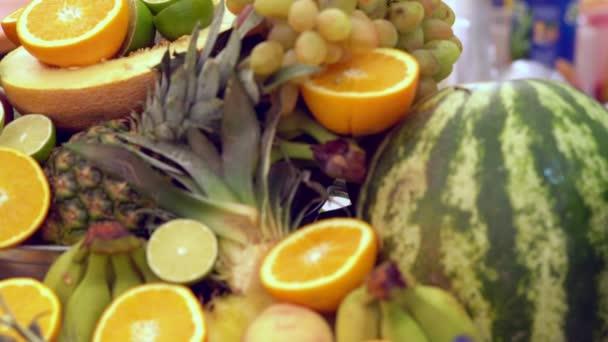 Fresh tropical fruit display on a buffet