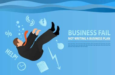 Businessman drowning in his problems.