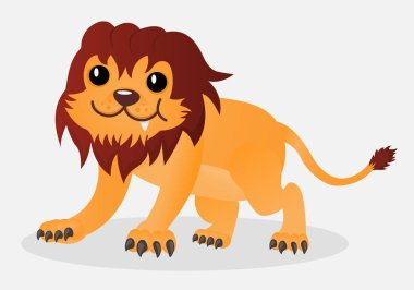 Cartoon happy cute vector little playful lion. Design for print, emblem, t-shirt, party decoration, sticker, logotype.