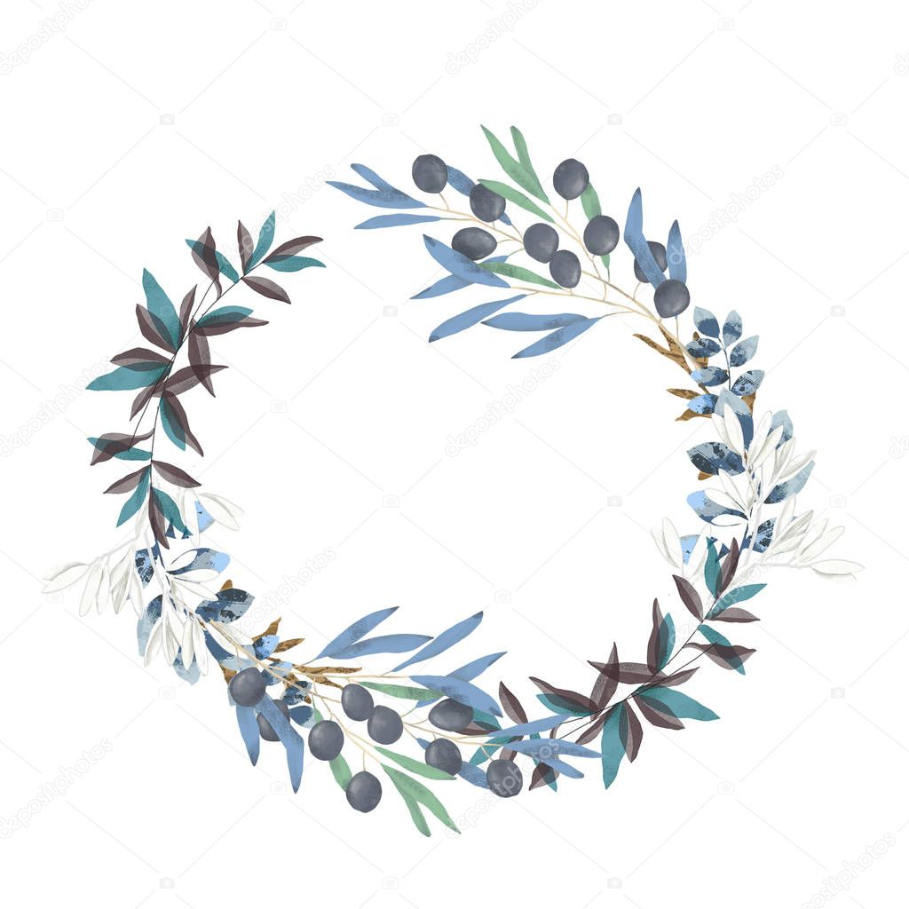 olive floral illustration - olive branch frame wreath for wedding stationary, greetings, wallpapers, fashion, backgrounds, textures, DIY, wrapping, postcards, logo, branding,