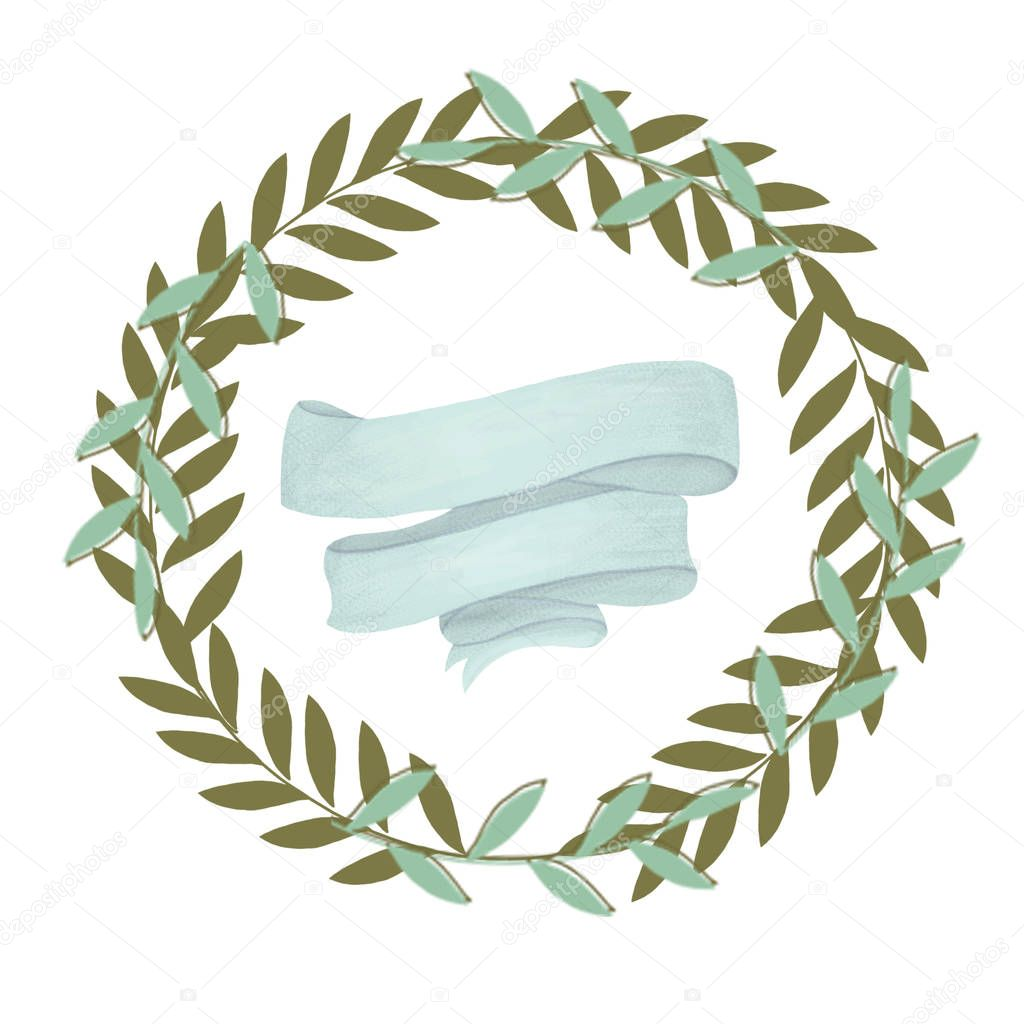 olive floral illustration - olive branch frame and ribbon wreath for wedding stationary, greetings, wallpapers, fashion, backgrounds, textures, DIY, wrapping, postcards, logo, branding,
