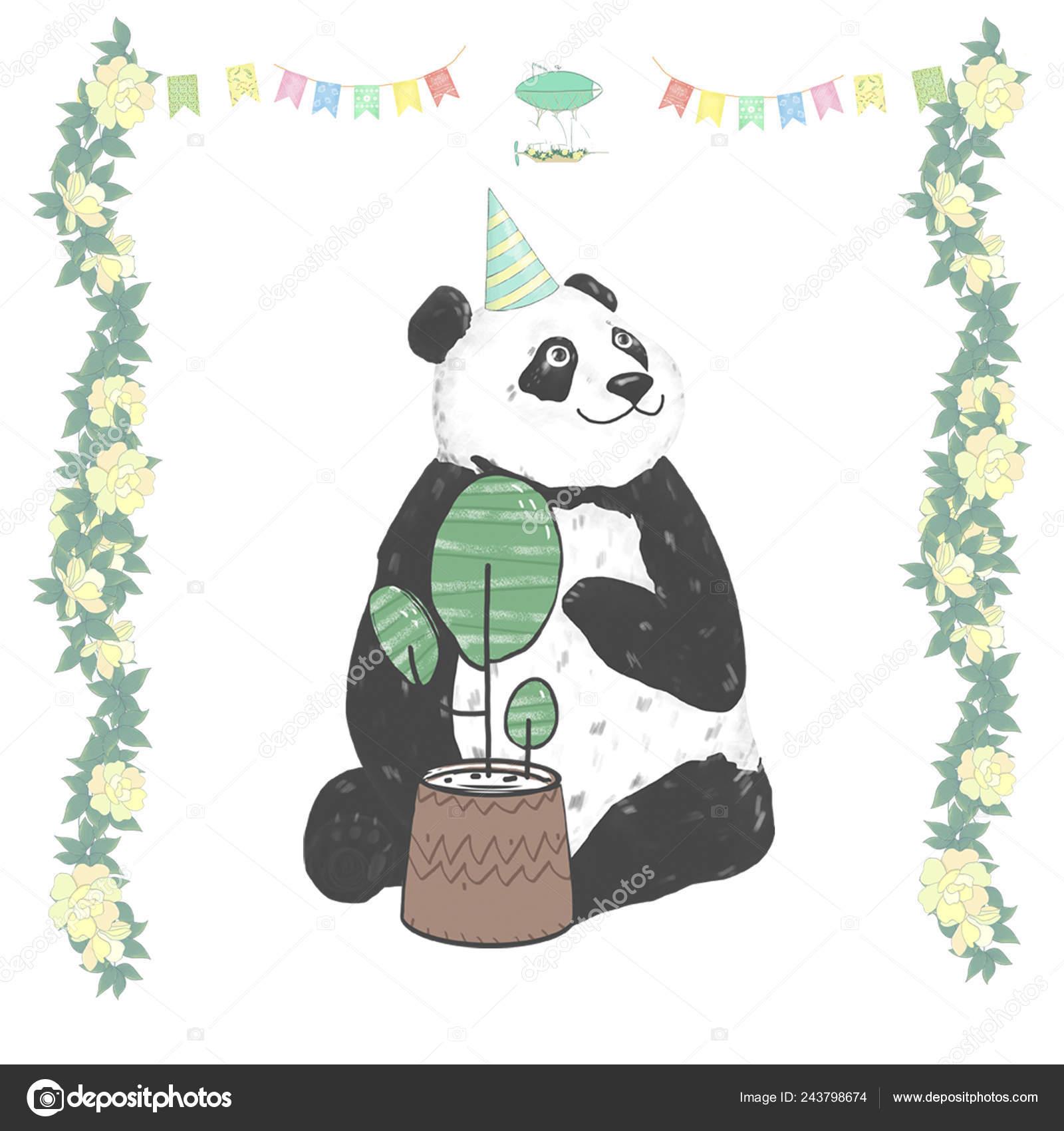 Panda Clip Art Drawing Animal Illustration Cute Animal Greeting