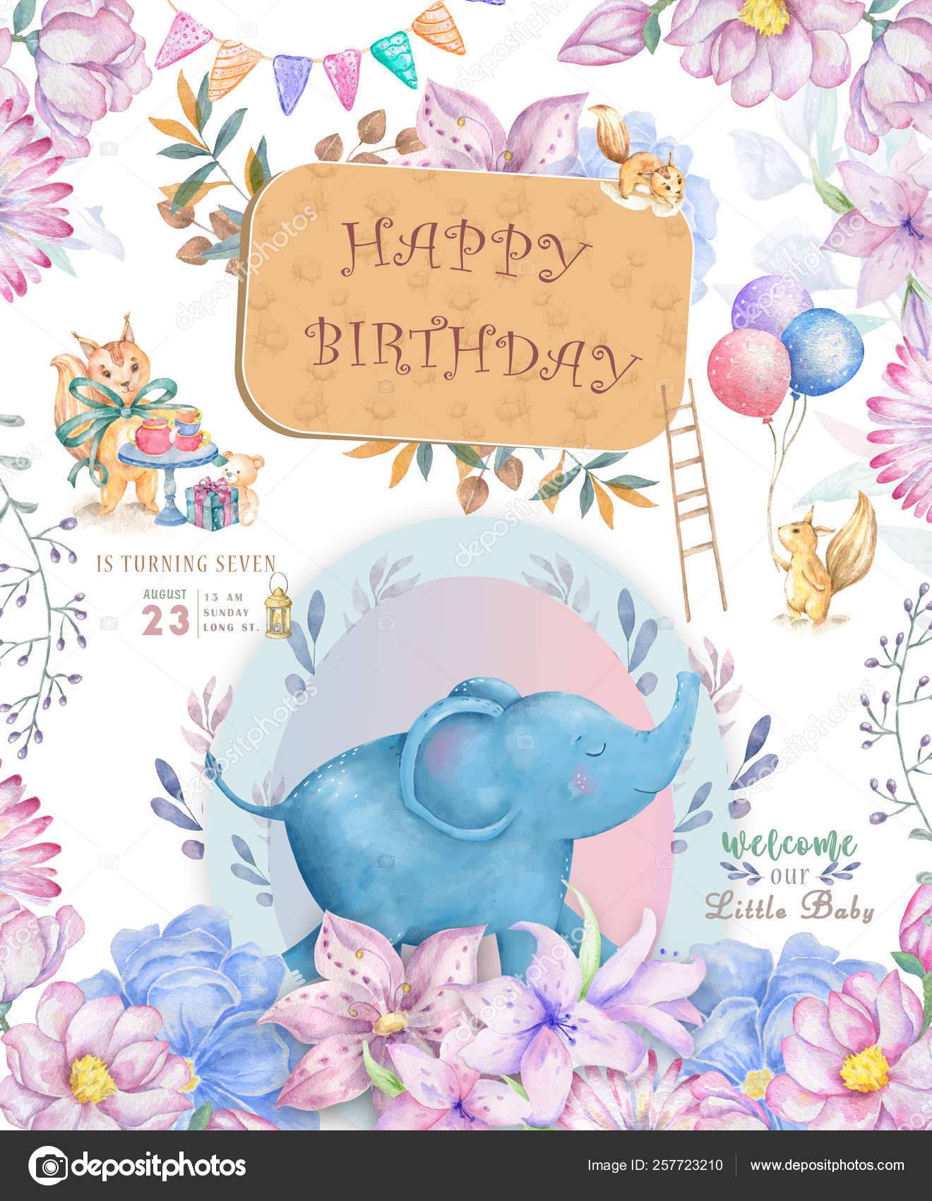 Happy Birthday Card With Cute Elephant Watercolor Animal Cute Baby Greeting Card Boho Flowers And Floral Bouquets Happy Birthday Set Watercolor Greeting Baby Clip Art On White Background Stock Photo C