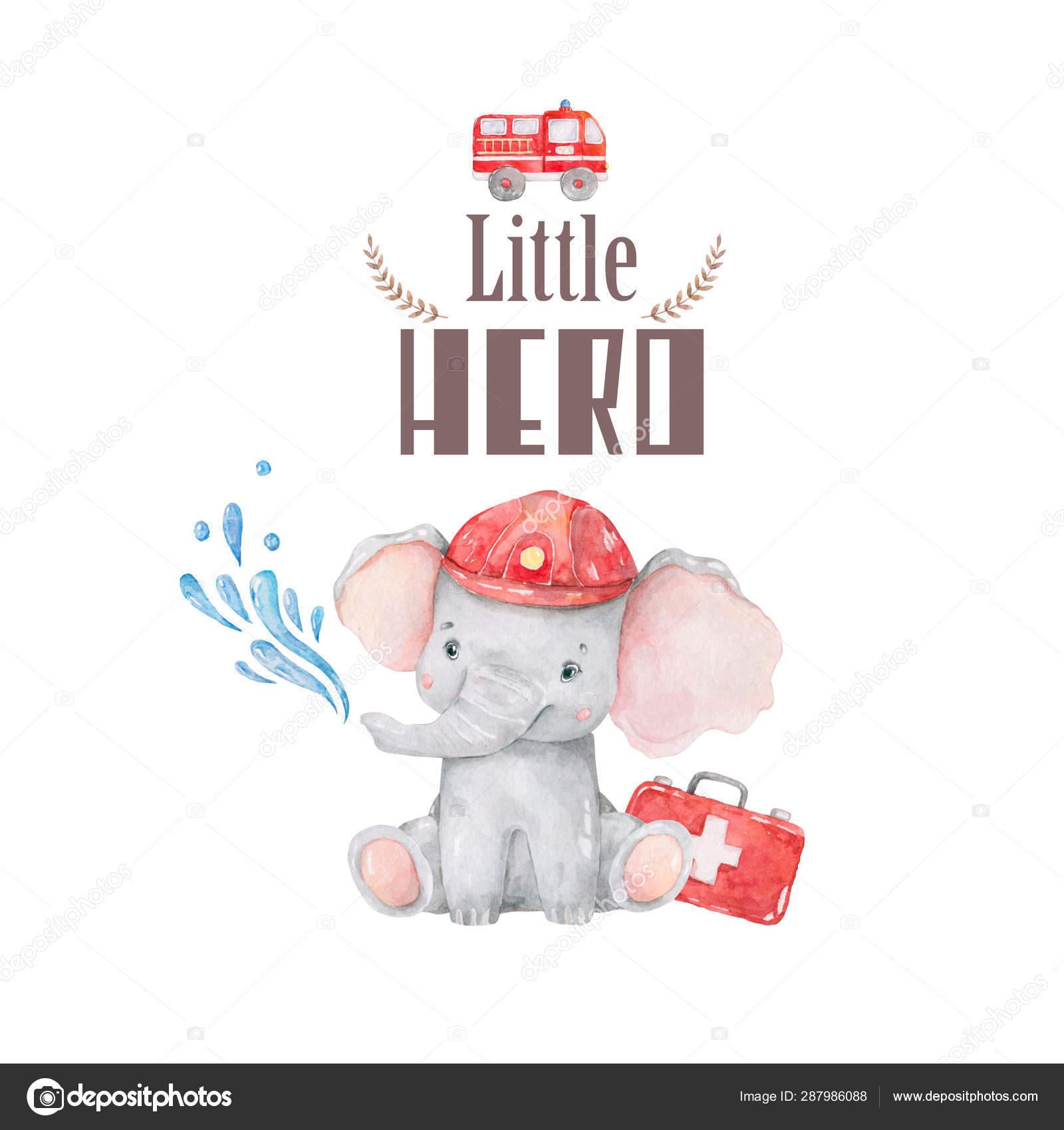 Pequeño Héroe Bienvenida Tarjeta De Bebé Acuarela Linda