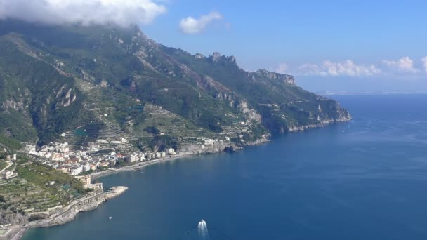 Top view of beautiful Amalfi coast, Italy. Popular tourist resort of Maiori town seen on mountain terraces