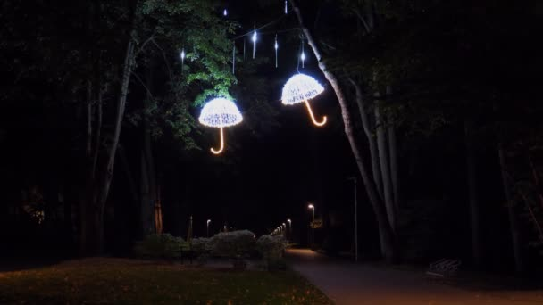 Public park night illumination. Light raindrops falling on two illuminated umbrellas hanging above footpath on the trees