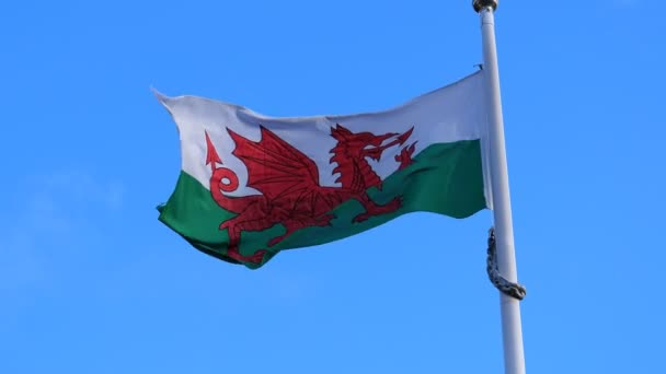 National flag of Wales, UK, United Kingdom flying against blue sky on the flagpole