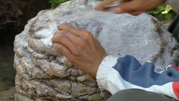 Close up of craftsman hands rasping stone statuette of a cat outdoors on a trunk of palm tree outdoors in Morocco