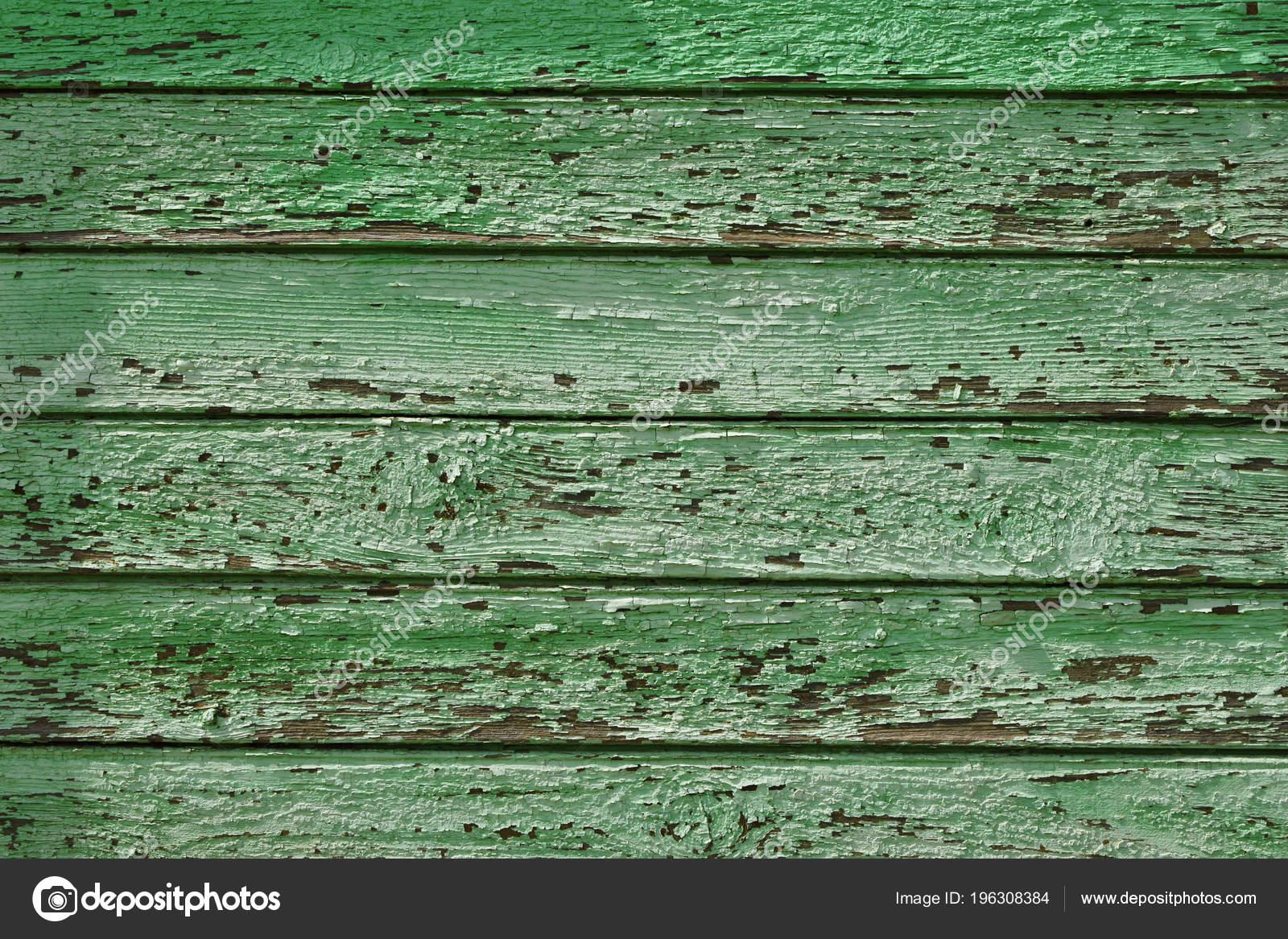 Planches Verts Avec Peinture Fissuré Mur Extérieur Vieille