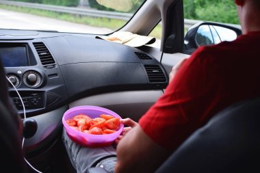 Man sitting in car and holding bowl with sliced tomato as healthy snack on road trip. Summer vacation travel by car concept.