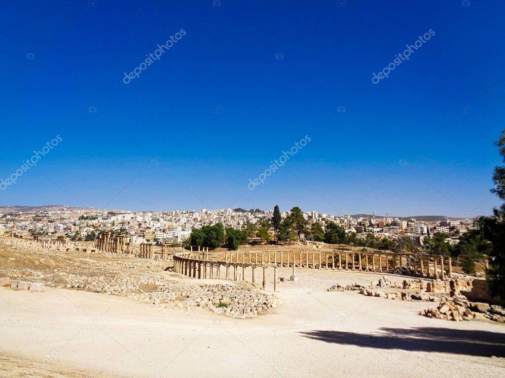 old temples ruin in Jordan blue sky