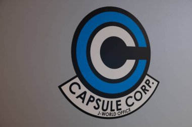 TOKYO, JAPAN - 23 FEB 2018: Capsule Corp logo of Dragon Ball super in a wall on J-World theme park in Toshima district