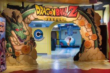 TOKYO, JAPAN - 23 FEB 2018: Shenlong, saiyan spaceship and Dragon Ball Z logo arch on J-World theme park in Toshima district