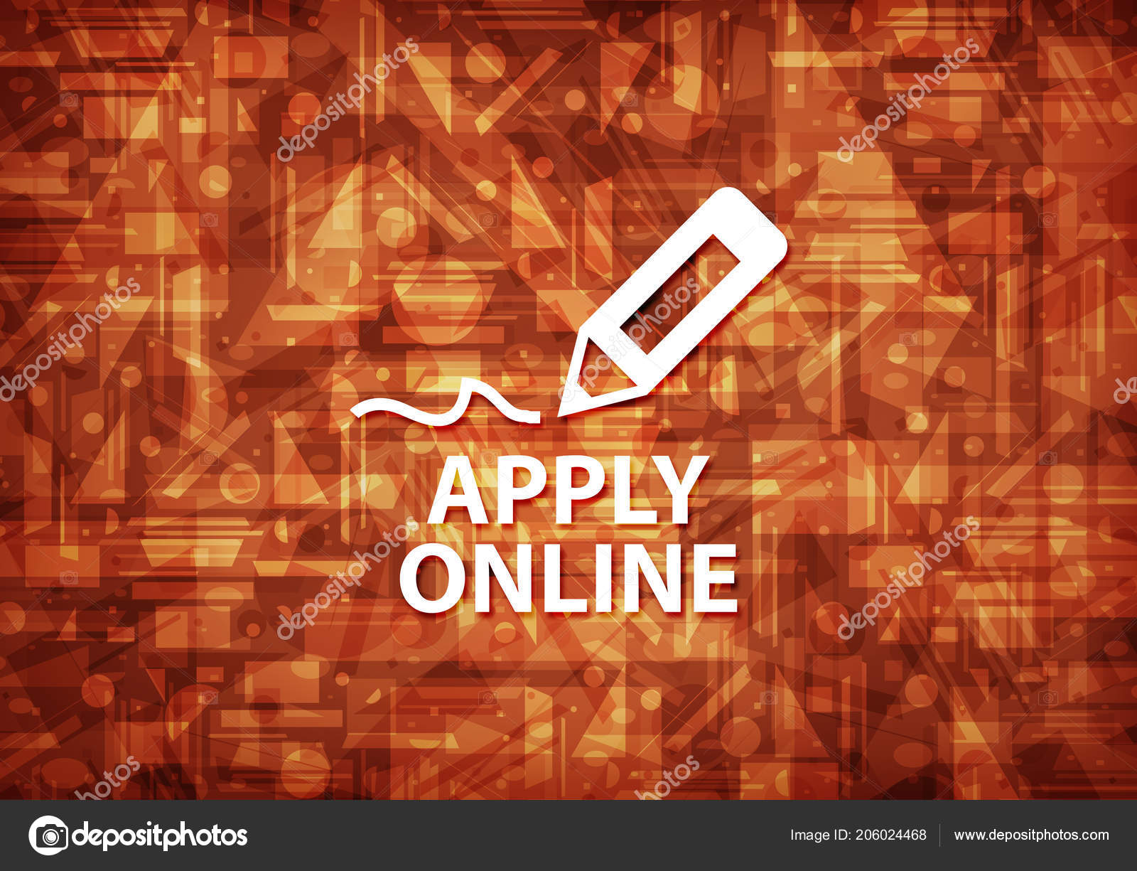 Apply Online Edit Pen Icon Isolated Brown Background