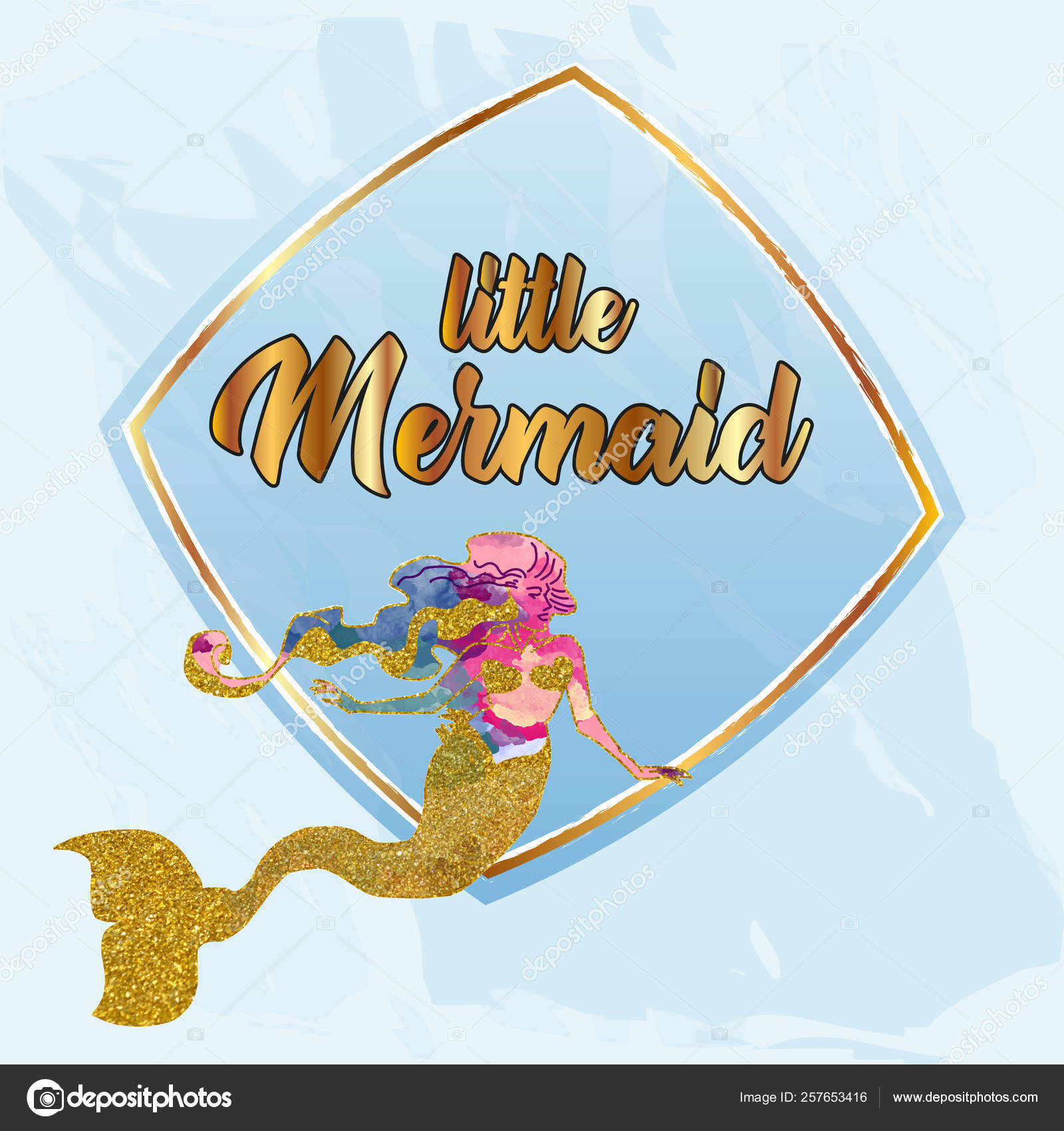 Little Mermaid Invitation Card Baby Shower Invitation Card