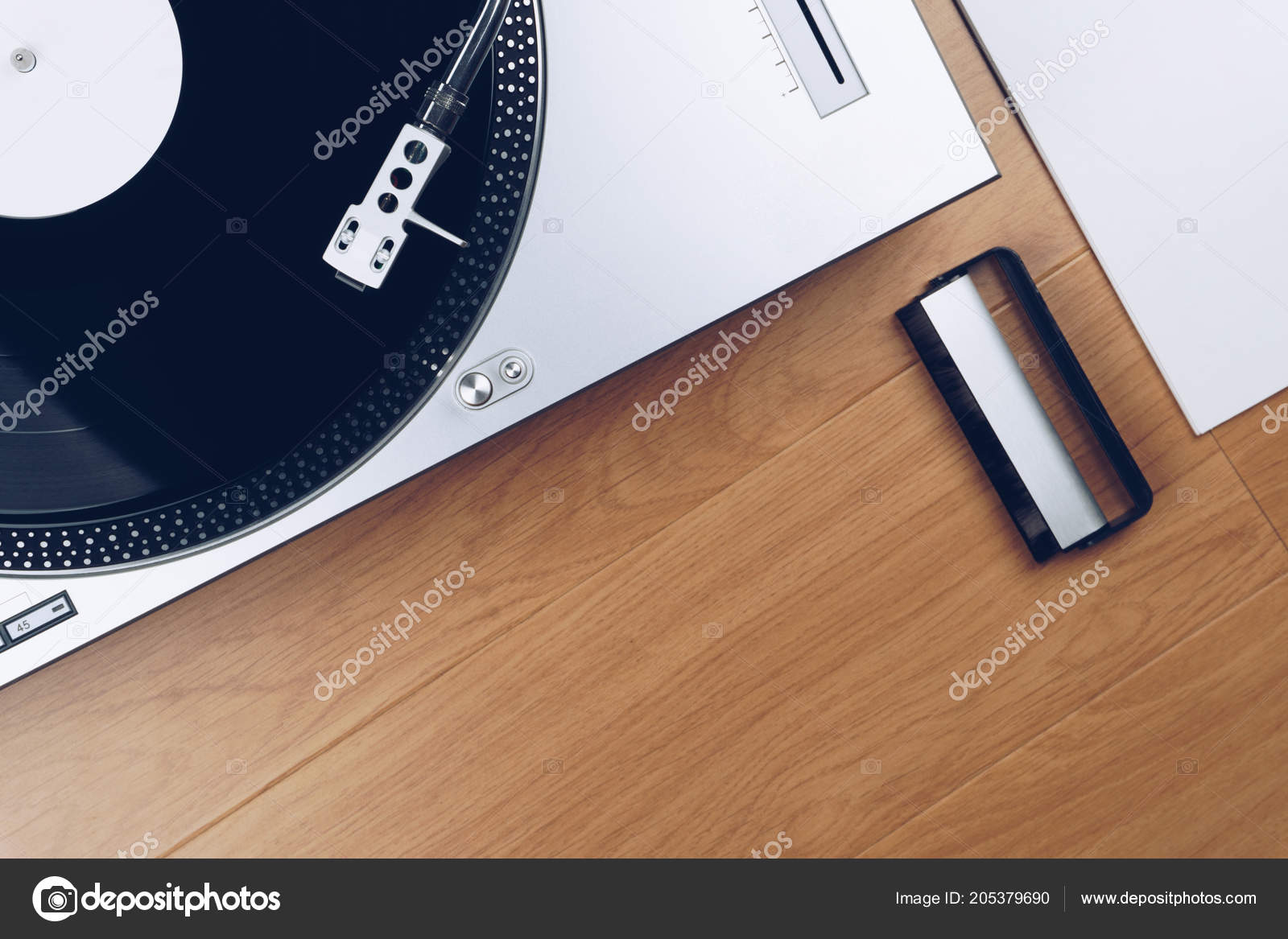 Top View Of A Record Player Or Turntable With Vinyl Carbon Fibre Cleaning Brush And Sleeve On The Wooden Floor Photo By Krisamorn