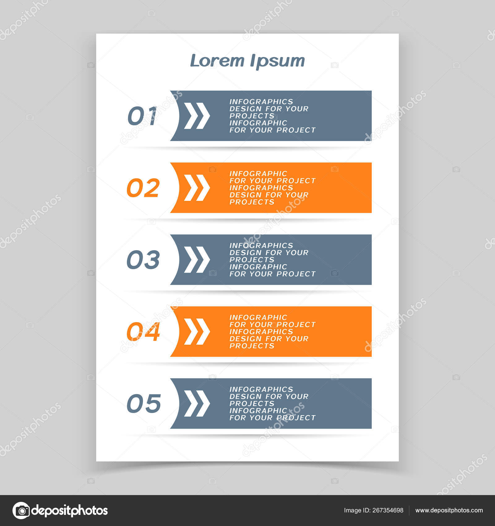Infographic table or web banner design with numbered steps