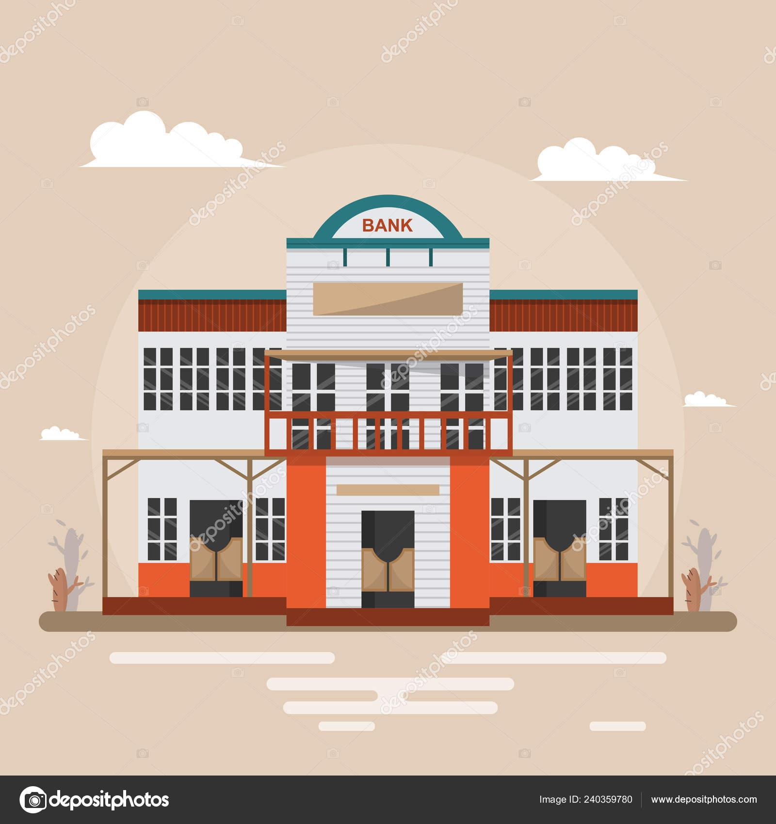 Design Vintage Bank.Bank Western Town Brown Background Building Design Vintage