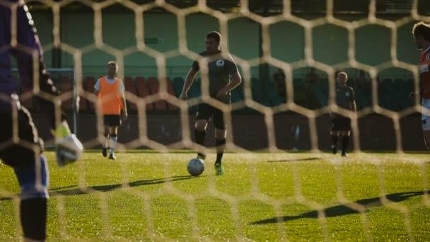 BOBRUISK, BELARUS - AUGUST 9, 2017: undefined soccer player attacks during soccer championship among amateur teams