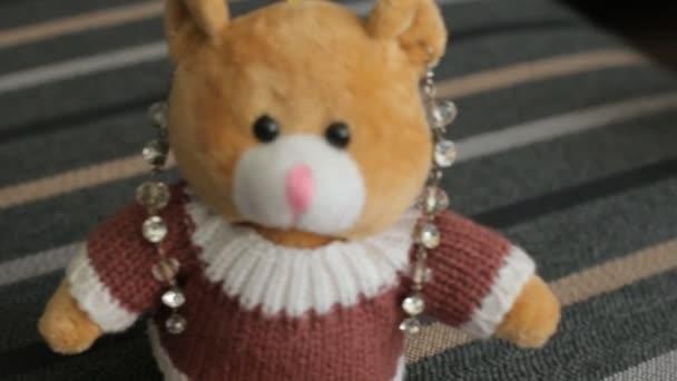 Little brown teddy bear, close-up