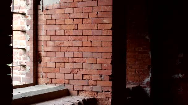 Mladý inspektor kontroluje hustota z cihlové zdi, příprava pro rekonstrukce, architekt