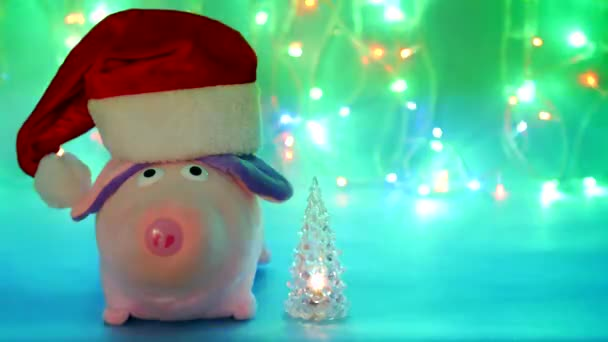 Roze Varken Gevulde Speelgoed In Een Rode Hoed Van De Kerstman Op Een Blauwe Achtergrond Met Een Speelgoed Gloeiende Kerstboom Kerstverlichting Het Nieuwe Jaar 2019 Het Jaar Van Het Varken