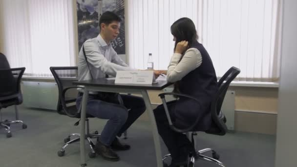 job seeker communicates with the employer during the interview for employment in Hi-Tech Park MINSK, BELARUS 11.24.18
