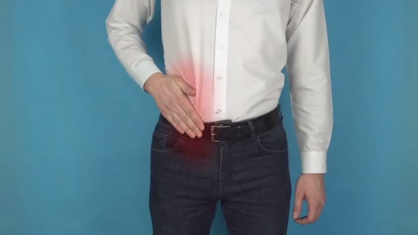 Nierensteinerkrankung. Mann hat Schmerzen aufgrund einer Blinddarmentzündung. Konzept der Zirrhose. Personen, die mit Hepatitis oder Wurminfektion infiziert sind. Manager im weißen Hemd leidet an Cholecystitis oder Urolithiasis.