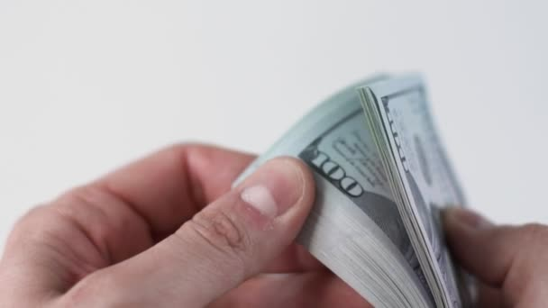 CU hands count stack of 100 american dollars money. Cash banknotes. Corruption and bribe concept. Currency exchange of one hundred bills. Finance, investment. Rich business economy. Copy space