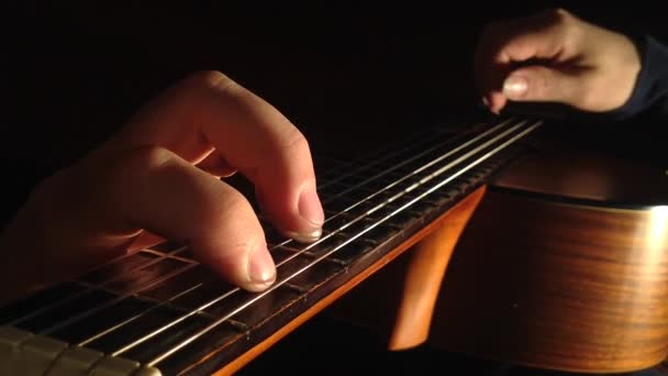 Classical guitar playing, view from above