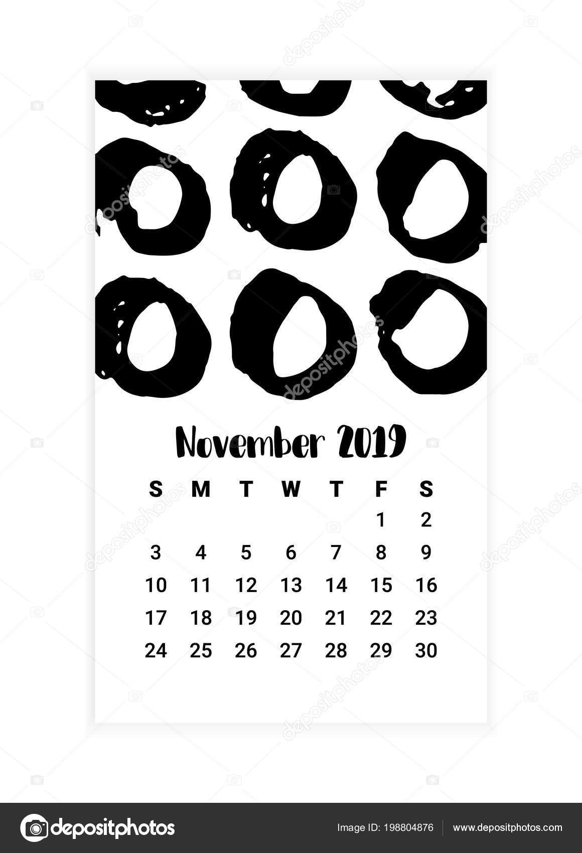 Kasım 2019 iin ay takvimi