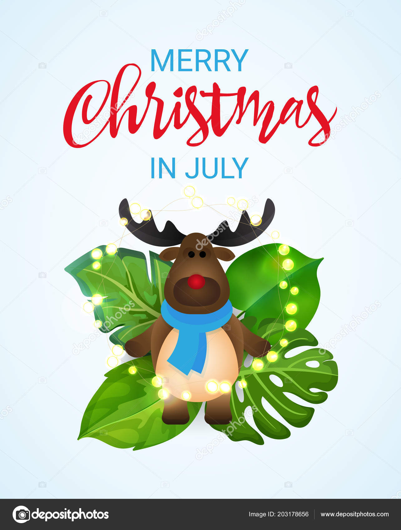 Happy Christmas In July Images.Merry Christmas In July Greeting Banner With Cartoon