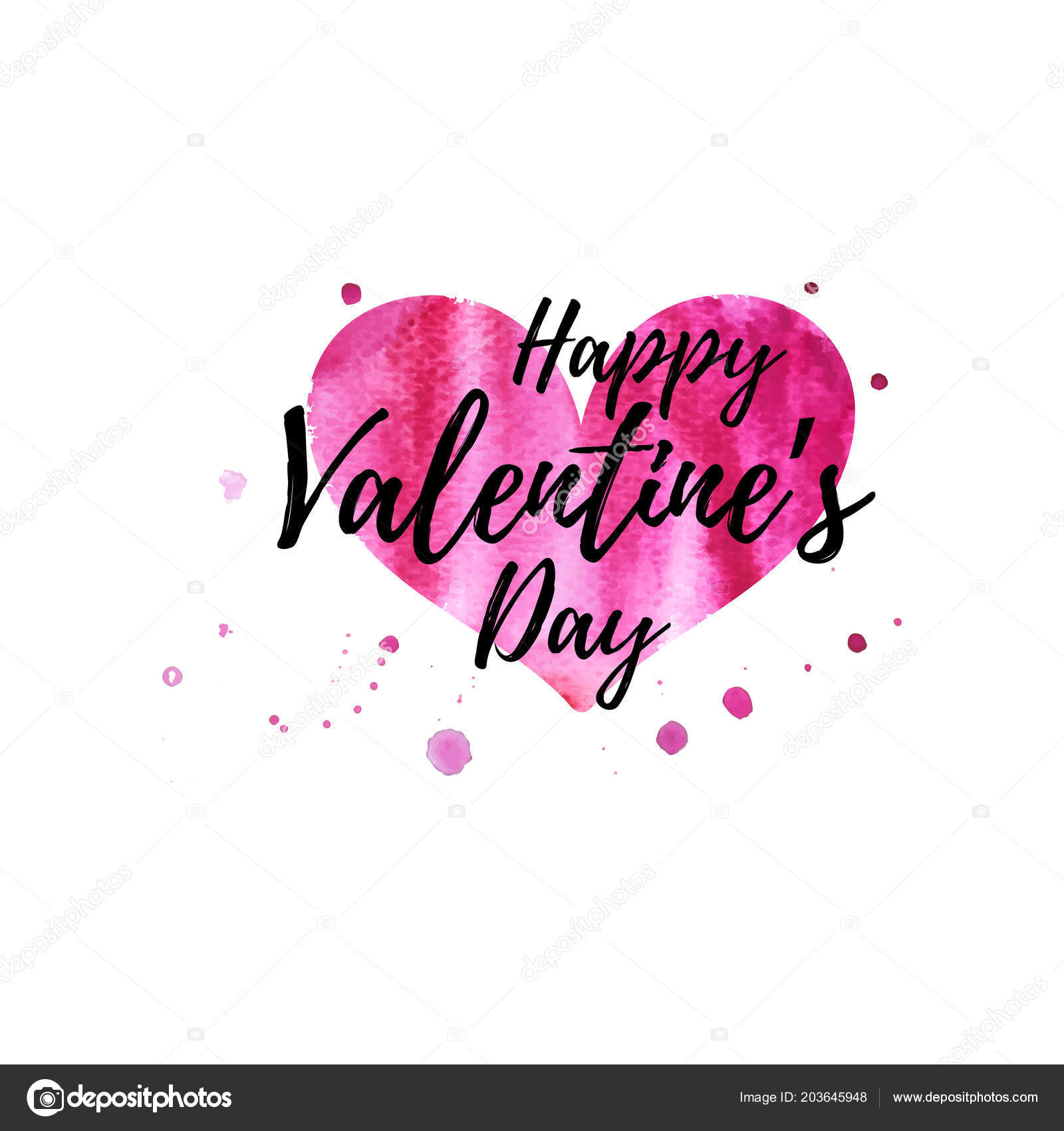 Happy Valentines Day Wenskaart Met Aquarel Hart Vorm Stockvector