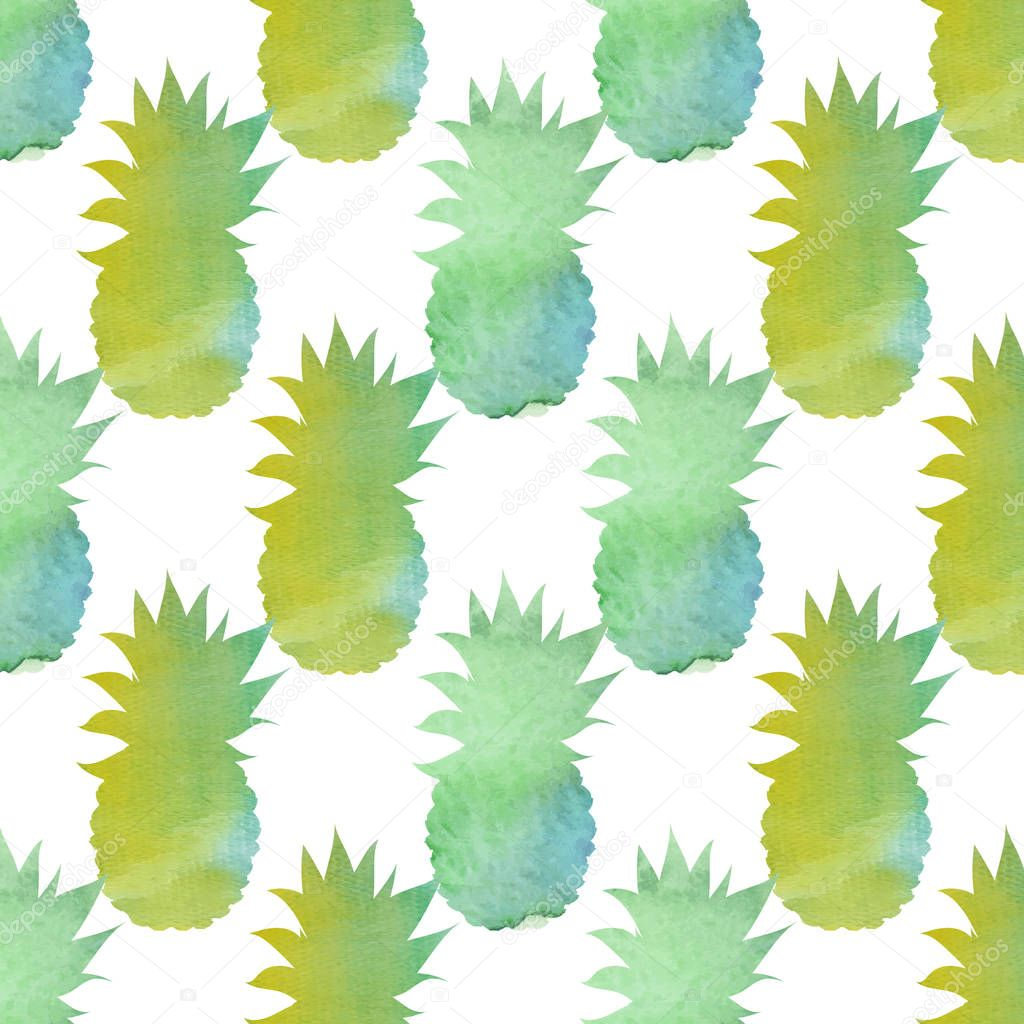 Watercolor pineapple seamless pattern. Abstract watercolour hand drawn background