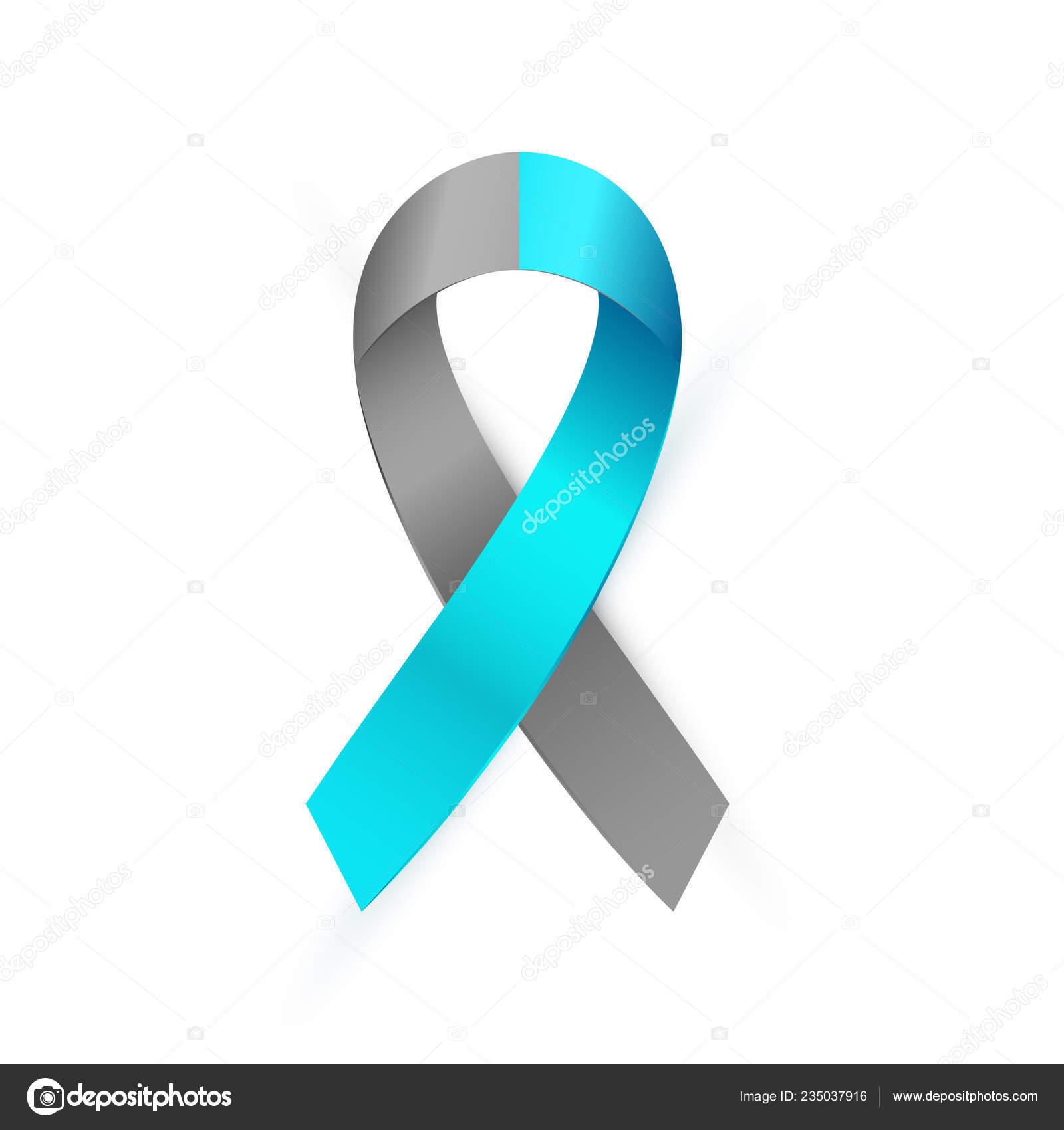 3d Gray And Blue Awareness Ribbon Diabetes Type 1 Borderline