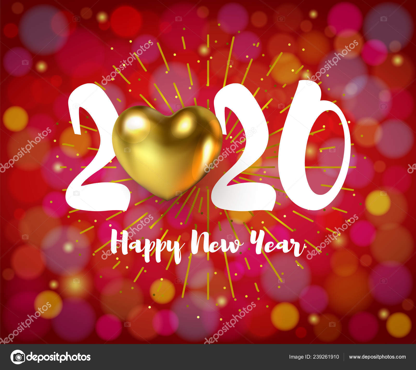 2020 Merry Christmas, Happy New Year poster with Golden Heart on