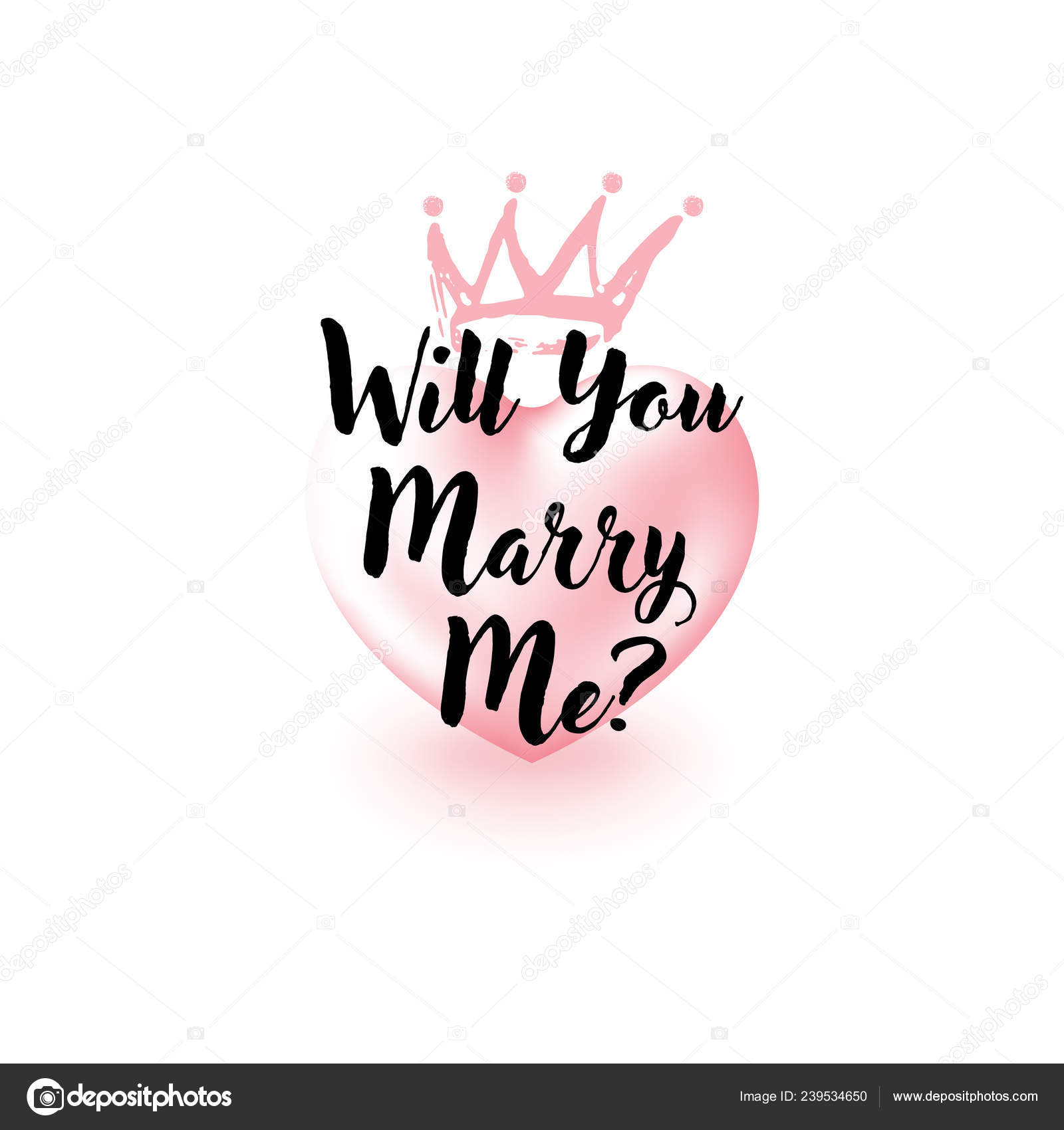 Will You Marry Me question  3d Heart and brush stroke Gold