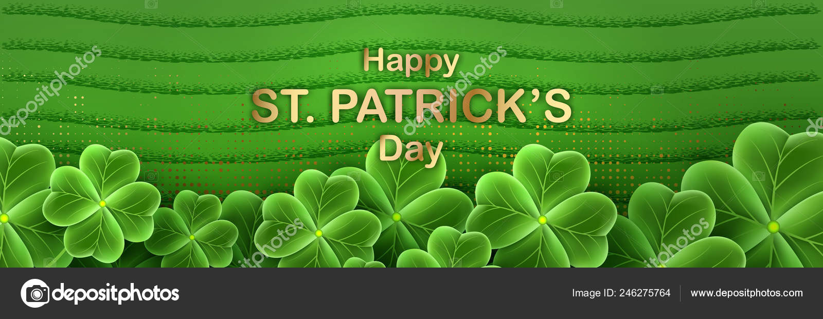 San Patricks Day Card With Clover Leaf Shamrock Grass