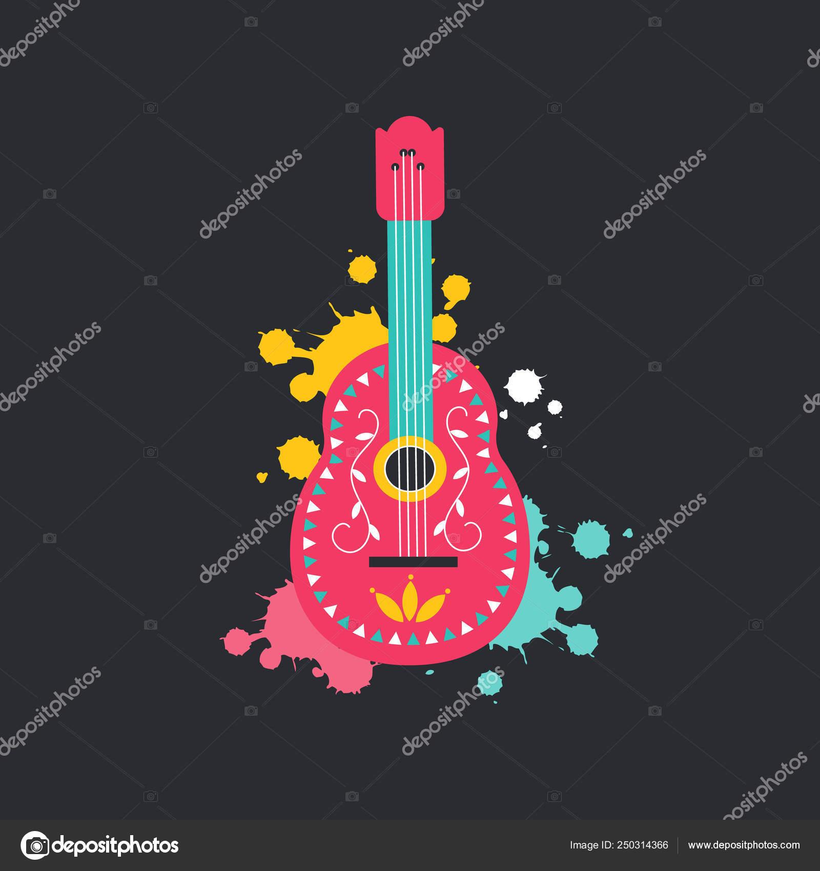 Plat Style De Guitare Mexicaine Icône Isolé Sur Fond Sombre