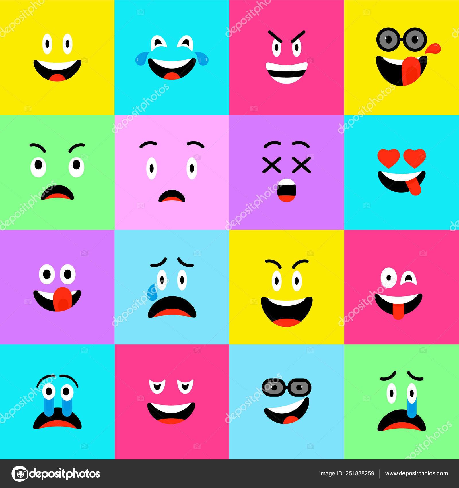 dcb58271275 Emojis icons Set estilo plano. Lindos emoticones cuadrados los iconos.  Caras divertidas, alegres y tristes. Patrón de colores de sonrisas.