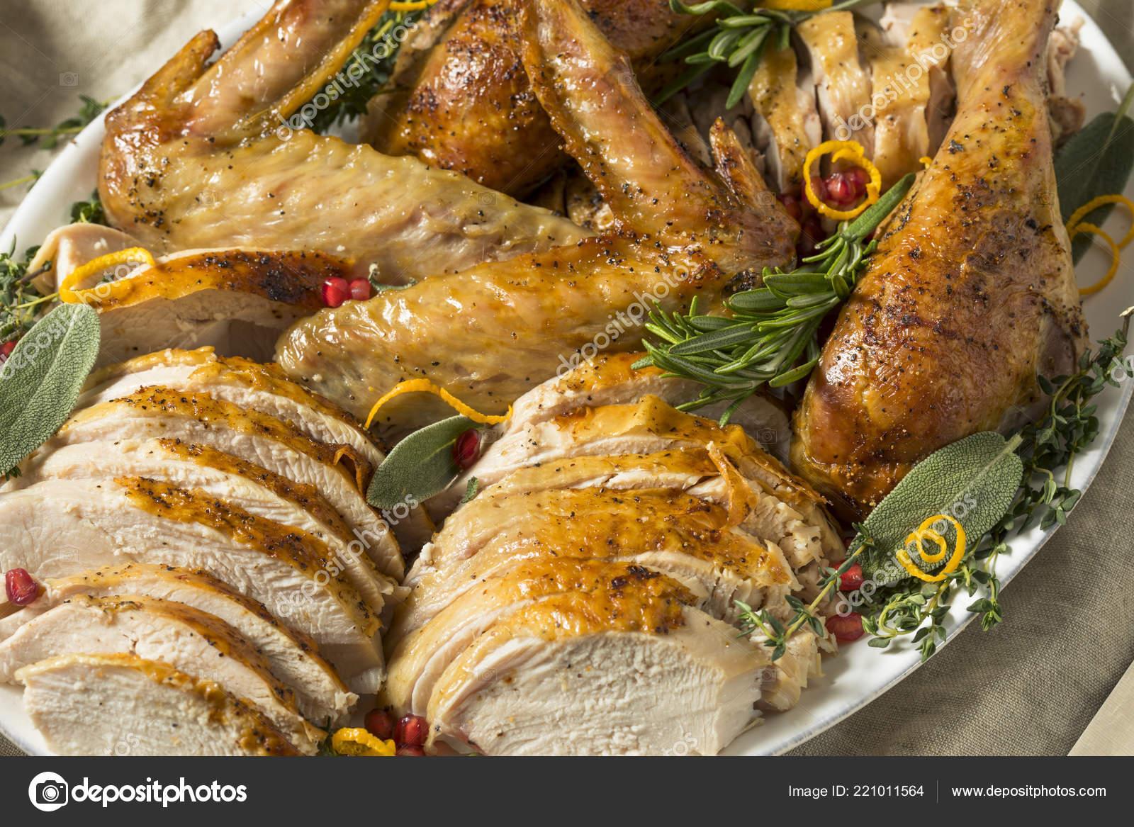 Roasted Cut Turkey Platter Thanksgiving All Sides Stock Photo
